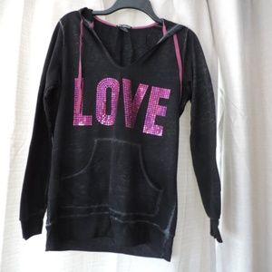 Miss Chievous Hooded Sequin LOVE Sweat Shirt Med